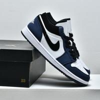 Sepatu Nike Air Jordan 1 Low Black Navy White Biru Dongker Premium