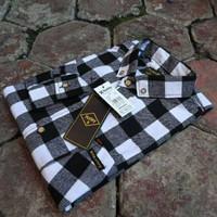 Kemeja Flanel Pria Lengan Panjang Kotak Catur Hitam Putih Premium Unis - foto no5, M