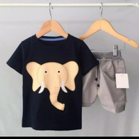 setelan baju anak laki-laki motif gajah usia 6 bln - 5 tahun