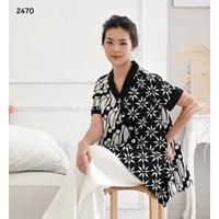 Baju batik wanita jumbo / atasan batik modern big size kantor seragam