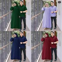 Baju Couple Maxi Sarimbit Kemeja Lengan Pendek Gamis Terusan Sepasang