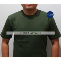 Kaos Polos Lengan Pendek Cotton Combed 30s HIJAU TNI / ARMY (Uk. S-XL)
