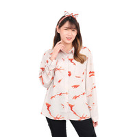 Monellina 50123 Baju Kemeja Atasan XXL Jumbo Lengan Panjang Wanita
