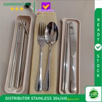 Cutlery Set Travel Sendok Garpu Sumpit Pisau Sedotan with BOX and BAG - SILVER