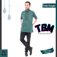 Baju kemeja Koko gamis Dewasa Lengan Pendek model baru Rasyid - mustard, S