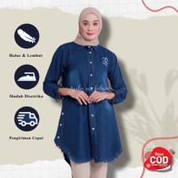 Atasan Wanita Baju Remaja Tunik Wanita Terbaru Atasan Tunik Jeans - Hitam, all size