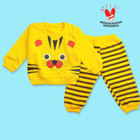 Setelan Baju Anak Baju Bayi Motif Macan 6-12 Bulan - Unisex