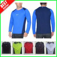 Kaos OlahRaga Pria Senam Lari Fitness Gym Baju Training Lengan Panjang - Hitam Tp, XL