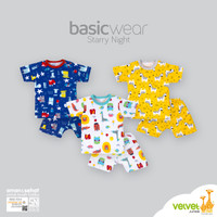 Velvet Junior Setelan Baju Kancing Pundak Pendek + Celana Pendek