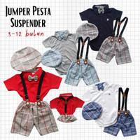 Baju Pesta Bayi Laki Jumper Kaos Kerah Celana Kotak-kotak Suspender