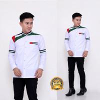 Baju Koko Pria Lengan Panjang Palestina Seragam Hadroh Santri Modern - putih biasa, S