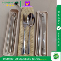 Cutlery Set Travel Sendok Garpu Sumpit Pisau Sedotan with BOX and BAG