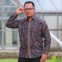 Original Baju Kemeja Batik pria lengan panjang BB2 Lapis Trikot S-XXXL