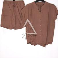 JUMBO Baju Tidur Wanita Piyama Setelan Rayon HP Celana Pendek - Polos - Brown