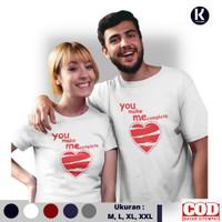 Kaos Distro Couple You Make Me Complete Lengan Pendek Baju Couple - Putih, XXL