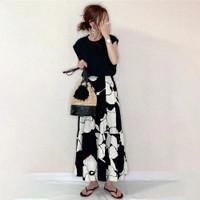 Setelan kaos set atasan rok casual fashion beachwear Sophie SS0001 - Hitam, all size