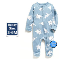 Old Navy Baby Boy LS Footed One Piece Slate Blue Branded Original - 3-6M