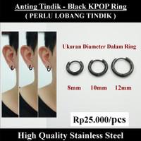 Anting Tindik Cowok Pria - Black KPOP Ring