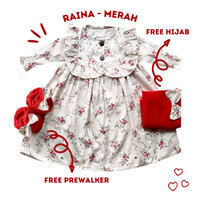 gamis anak balita perempuan baby bayi katun jepang RAINA - Merah