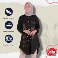 Tunik Jeans Andira Hitam Baju Wanita Atasan Wanita Tunik Wanita Remaja - Hitam, all size