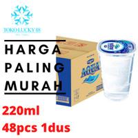 Air Mineral Minum Aqua Gelas 220 ml isi 48 pcs 1 dus