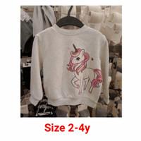 sale H&M ori baju anak perempuan sweater unicorn grey