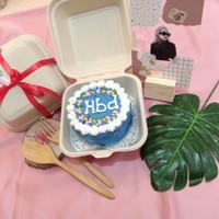 Paket Korean LunchBox Cake 10cm + Acrylic Stand Hadiah Kue Ultah Mini - + Acrylic 10x15