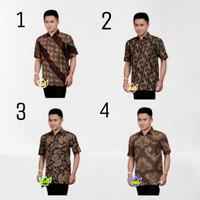 kemeja batik pria lengan pendek baju fashion motif Hem cowok printing.