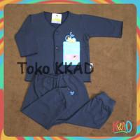 pakaian baju bayi setelan panjang newborn 0-3 bulan dan 3-6 bulan baby - biru A, 0-3 Bulan