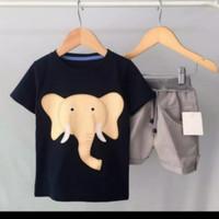 setelan baju anak motif gajah usia 1-5 tahun