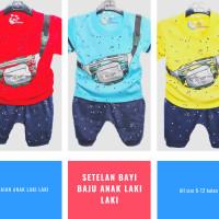 Setelan Bayi Baju Anak Laki Laki 6-12 Bulan Motif Sablon Keren Lucu