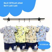 Baju Setelan Anak Bayi Laki laki 3-12 bulan Kemeja kerah lengan pendek