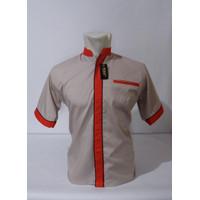 Kemeja Pria Seragam Kerja Baju Kantor UNISEX FRK - Cream - Merah, S