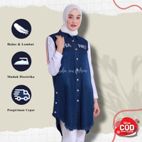 Tunik Jeans Manda Baju Wanita Atasan Wanita Tunik Wanita Tunik Remaja - Navy, all size