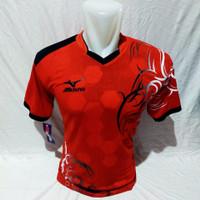 baju badminton kaos badminton atasan pria wanita - Merah, M