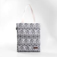 Pamole - Tote Bag Bahan Kanvas Motif Penutup Resleting - Black Thai