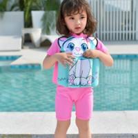 Baju Renang Anak Perempuan Dengan Pelampung Motif Kucing Import - L ( 18-24 bln )