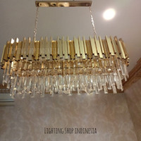 Lampu Gantung Kristal panjang 100cm 12L gold Mewah Ruang Tamu