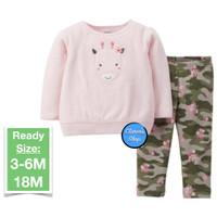 Child Of Mine Girl Piyama Baju Tidur LS Pink Giraffe Branded Original
