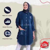Tunik Jeans Tezza Baju Wanita Atasan Wanita Tunik Wanita Remaja - Navy, all size