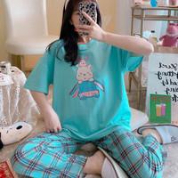baju tidur piyama pajamas CP kaos wanita dewasa bnyk varian motifnya - hijau panda