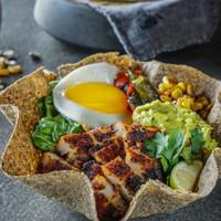 Blue Corn Tortilla-Carne Asada Bowlrito with charcoal grilled US steak