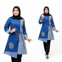 Baju atasan wanita terbaru tunik batik modern M, L, XL, XXXL - Biru, M