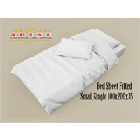 Hotel Bed Sheet Fitted Small Single, 100 X 200 X 35, Putih Plain