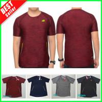 PREMIUM Kaos OlahRaga Pria Senam Fitness Gym Lari Baju Training Fitnes - Merah, L