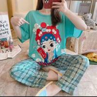 baju tidur piyama pajamas CP jumbo wanita dewasa bnyk motif kaos impor