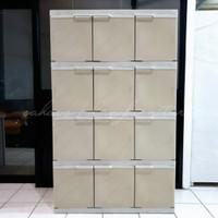 Lemari plastik akako 3 pintu 4 susun (12 pintu ) rotan