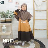 Gratis Jilbab Bergo Baju Gamis Anak Perempuan 3 - 15 Tahun Nuhaa Kids - Set Gamis Brown, S