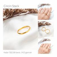 Cincin wanita model tipis korean style elegant emas asli
