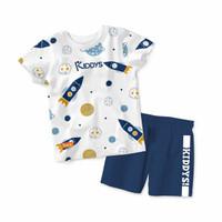 Baju Setelan Kaos Anak Kiddys Motif Sablon Rocket Warna Putih KDS47 - 6-12 Bulan, Celana aja
